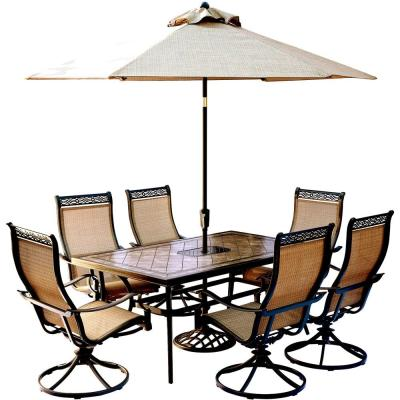 Monaco 7-Piece Outdoor Dining Set with Rectangular Tile-Top Table and Contoured Sling Swivel Chairs, Umbrella and Base