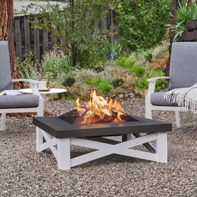 Austin 34 in. x 11 in. Square Iron Wood-Burning Fire Pit Table in White with Black Top