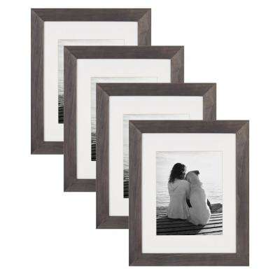 Museum 11 in. x 14 in. Matted to 8 in. x 10 in. Gray Picture Frame (Set of 4)