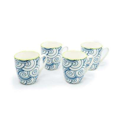 Thea Blue 12 oz. Porcelain Coffee Mugs (Set of 4)