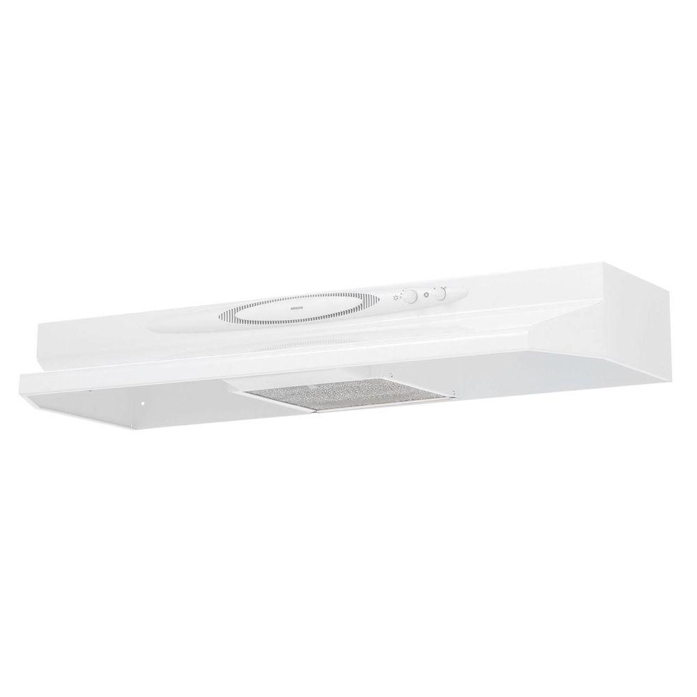 Broan QT20000 Quiet Hood 42 in. Convertible Range Hood in White on White