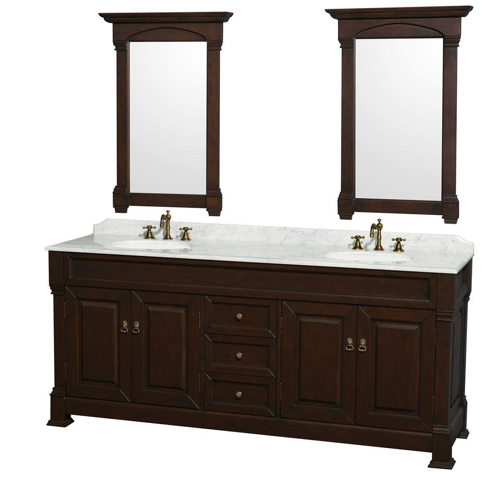 Wyndham Collection Andover 80 in. Vanity in Dark Cherry with Marble Vanity Top in Carrera White with Sink and 2 Mirrors
