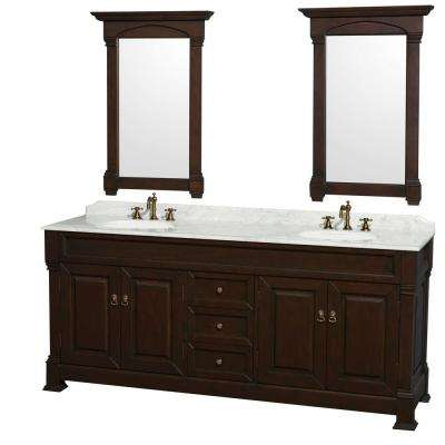 Vanity In Dark Cherry With Marble Top Carrera White