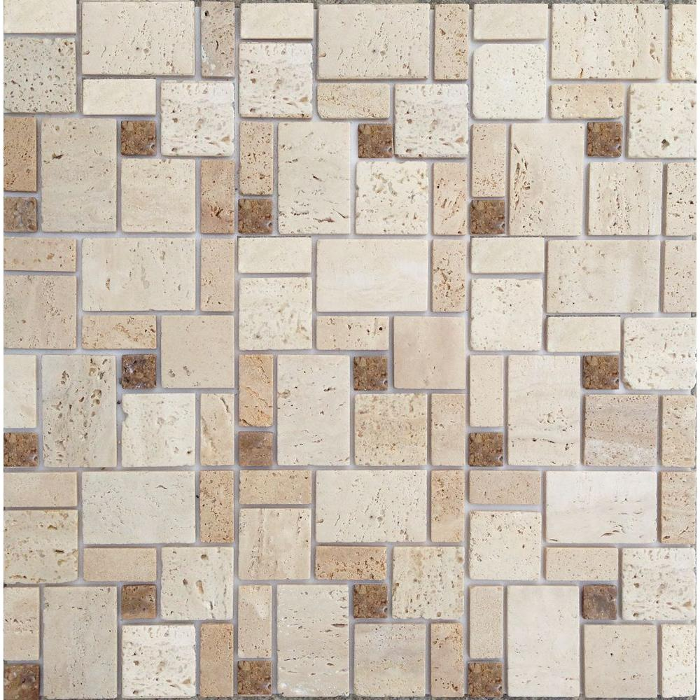MSI Chiaro 4 in. x 4 in. Tumbled Travertine Floor and Wall Tile (1 ...