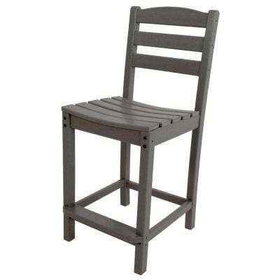 La Casa Cafe Slate Grey Plastic Outdoor Patio Counter Side Chair