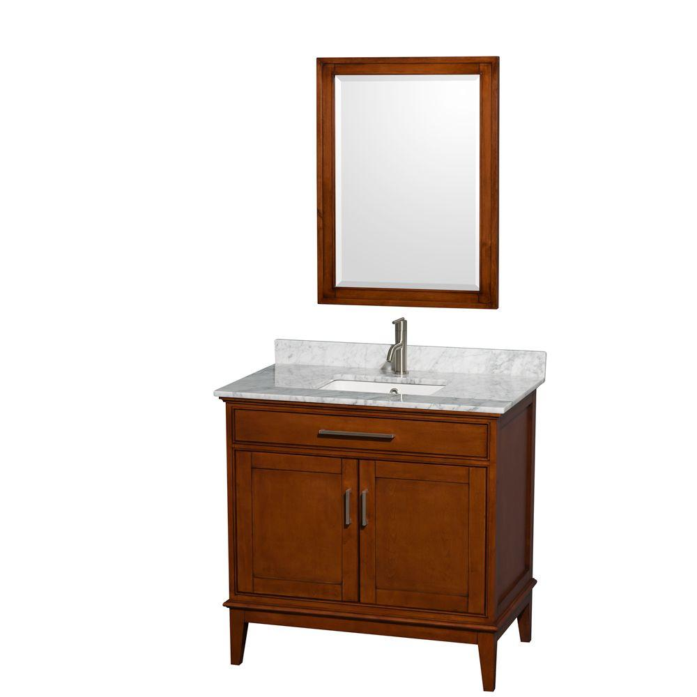 Wyndham Collection Hatton 36 in. Vanity in Light Chestnut with Marble Vanity Top in Carrara White, Square Sink and 24 in. Mirror