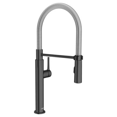 Studio S Single-Handle Pull-Down Sprayer Kitchen Faucet with Spring Spout in Matte Black