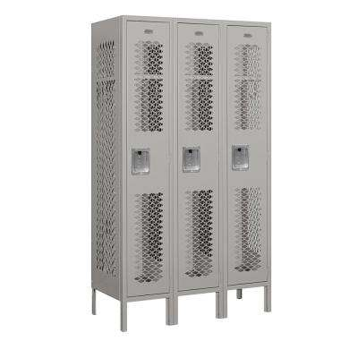 71000 Series 3 Compartments Single Tier 36 In. W x 66 In. H x 15 In. D Vented Metal Locker Assembled in Gray