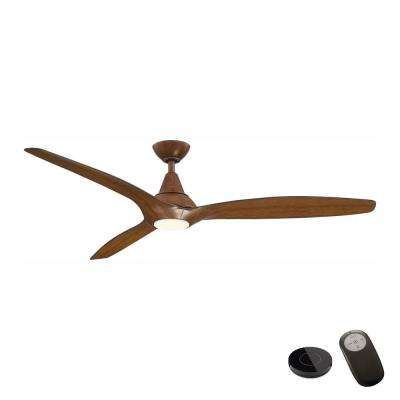 Tidal Breeze 60 in. LED Distressed Koa Ceiling Fan with Light Kit and Remote Control works with Google and Alexa