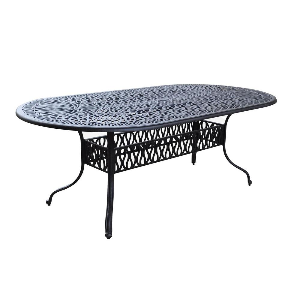 Home Styles Floral Blossom 84 in. x 42 in. Oval Patio Din...
