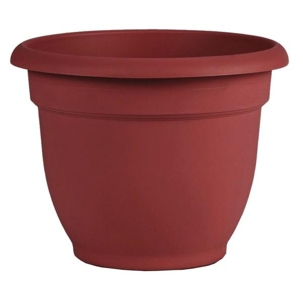 Ariana 8 in. x 7 in. Burnt Red Plastic Self Watering Planter