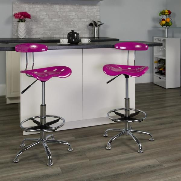 Flash Furniture Vibrant Candy Heart and Chrome Drafting Stool with Tractor