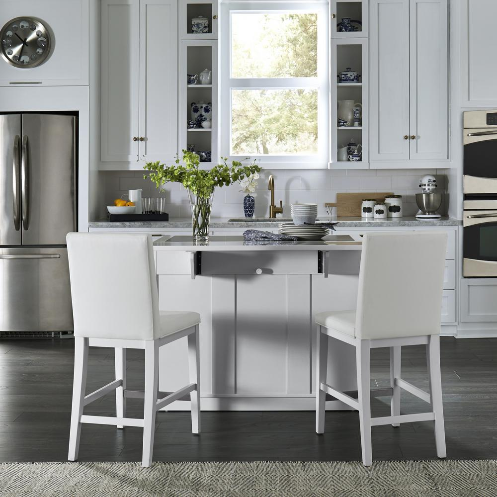 Home styles linear white kitchen island and 2 bar stools - Kitchen island with stools ...