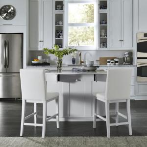 Home Styles Linear White Kitchen Island and 2-Bar Stools ...