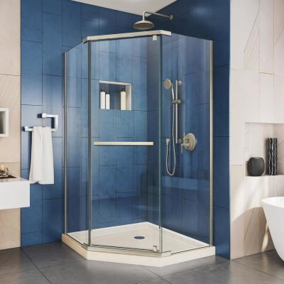 Prism 42 in. x 42 in. x 74.75 in. Semi-Frameless Pivot Neo-Angle Shower Enclosure in Brushed Nickel with Biscuit Base