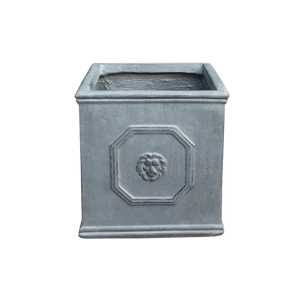 12.6 in. Antique Rust Color Lightweight Concrete Lion Head Square Medium Planter
