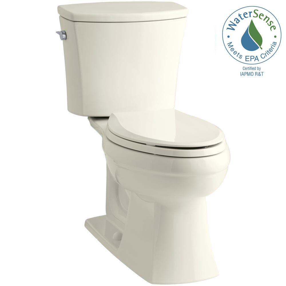 KOHLER Kelston Comfort Height 2-piece 1.28 GPF Elongated Toilet with AquaPiston Flushing Technology in Biscuit