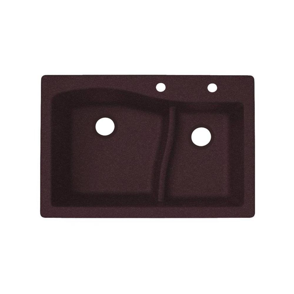 Dual-Mount Granite 33 in. x 22 in. 2-Hole 60/40 Double Bowl Kitchen Sink in Espresso