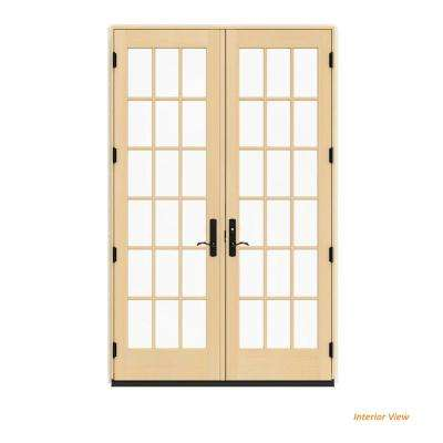 60 in. x 96 in. W-4500 Contemporary Green Clad Wood Left-Hand 18 Lite French Patio Door w/Unfinished Interior