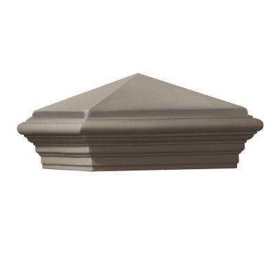 12 in. x 12 in. x 8 in. Gray Cast Stone Woodland Square Post Cap