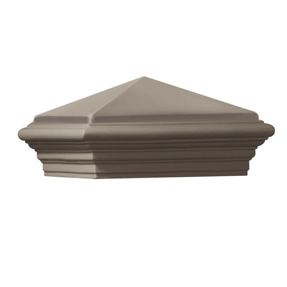 null 12 in. x 12 in. x 8 in. Gray Cast Stone Woodland Square Post Cap
