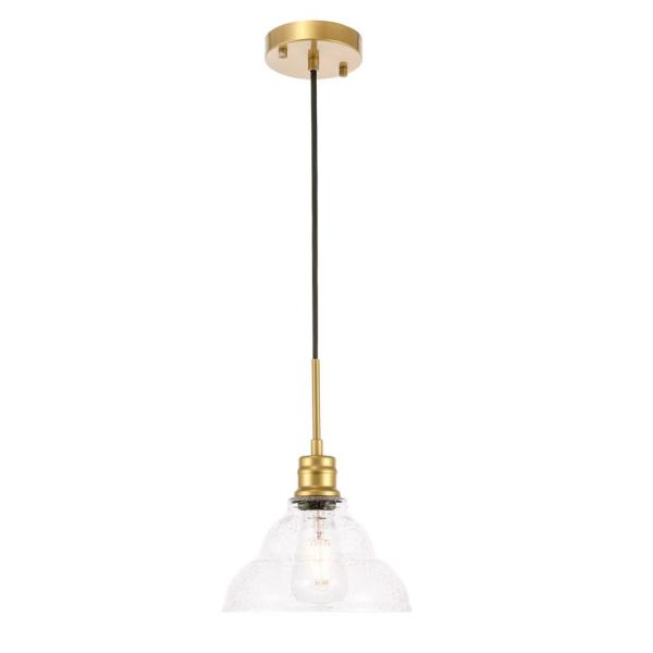 Timeless Home Garza 1-Light Pendant in Brass with 8.5 in. W x 5.25 in. H Clear Seeded Glass