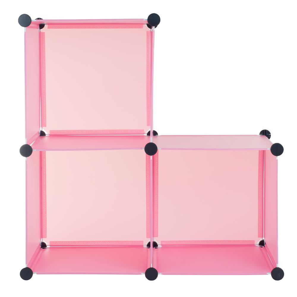 Incroyable Pink Plastic Stackable 3 Cube Organizer