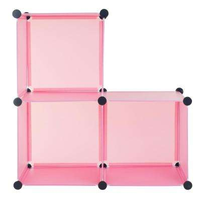 14 in. x 14 in. Pink Plastic Stackable 3-Cube Organizer