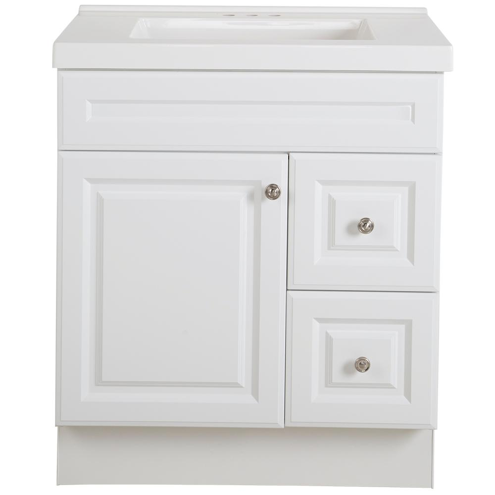 Glacier Bay Glensford 31 in. W x 22 in. D Bathroom Vanity in White with Cultured Marble Vanity Top in White