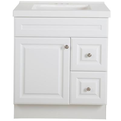 Glensford 31 in. W x 22 in. D Bathroom Vanity in White with Cultured Marble Vanity Top in White