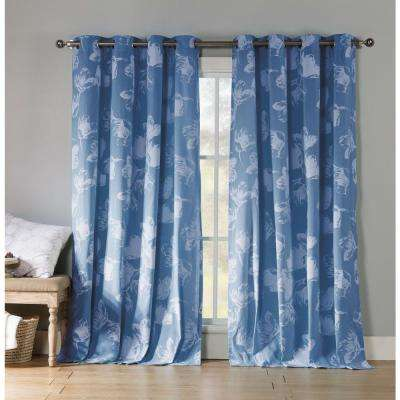 Aster 84 in. L Polycotton Grommet Panel in Dusty Blue (2-Pack)