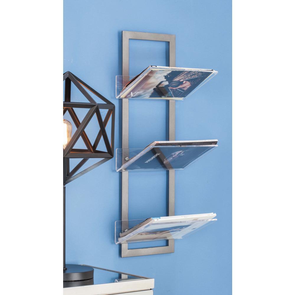 8 in. L x 12 in. W Modern 3-Tier Iron and Acrylic Shelf