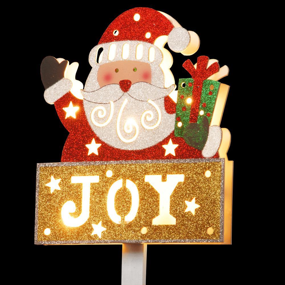 Pre-Lit 35 in. Santa with JOY Sign