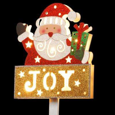 Pre-Lit 35 in. Santa with JOY Sign