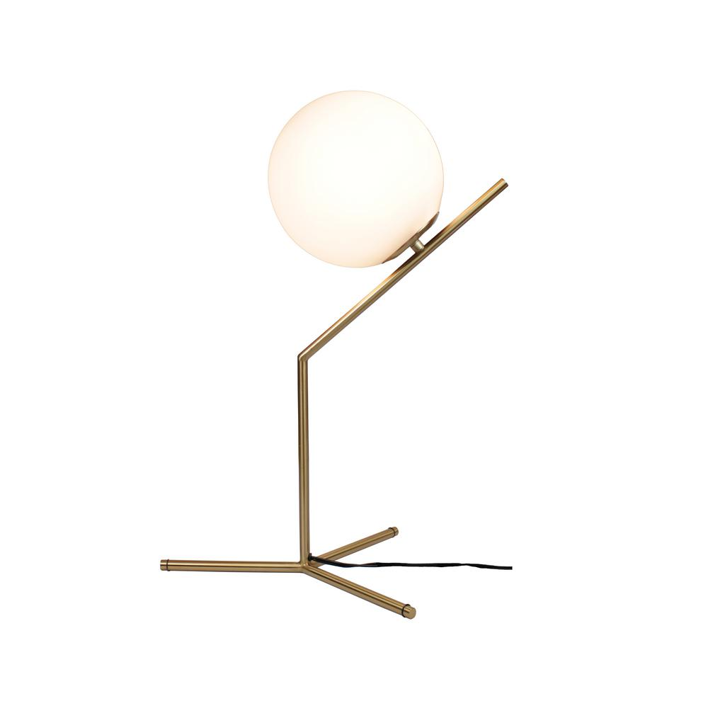 Eqlight Mid Century 22 In Satin Brass Table Lamp With Glass Globe