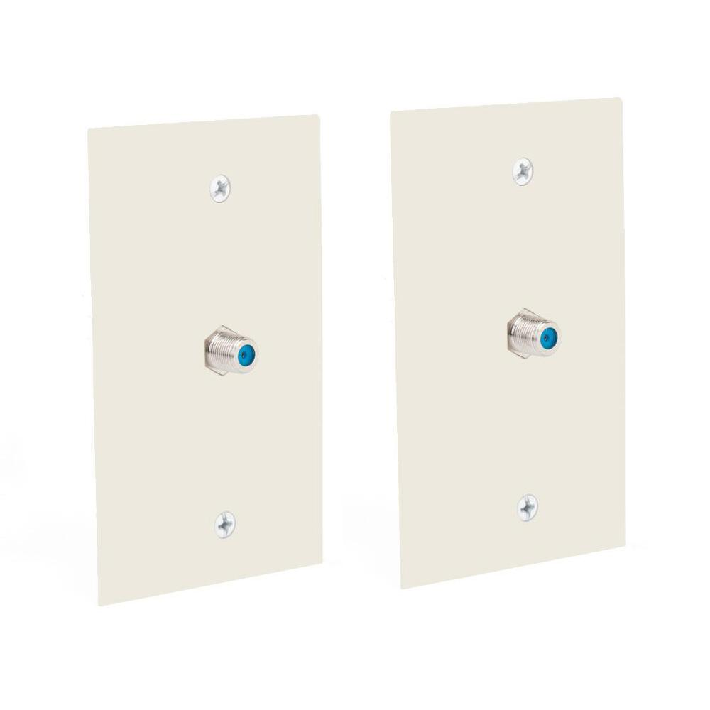 COMMERCIALELECTRIC Commercial Electric 1 Gang Coaxial Cable Wall Plate, Light Almond (2-Pack)