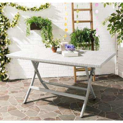 55.1 in. Dilettie Grey Rattan Folding Outdoor Dining Table
