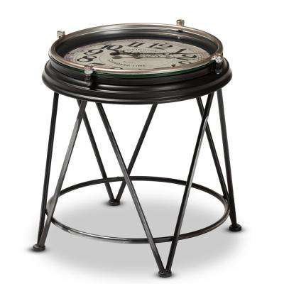 Giles Matte Black Accent Table with Inlaid Clock