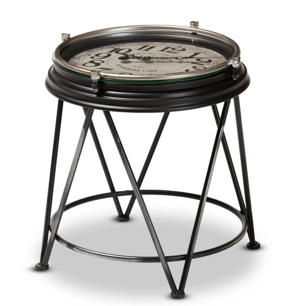 Baxton Studio Giles Matte Black Accent Table with Inlaid Clock 151-9074-HD