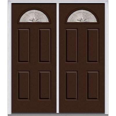 60 in. x 80 in. Heirloom Master Right-Hand Inswing Fan Lite Decorative Glass 4-Panel Painted Steel Prehung Front Door
