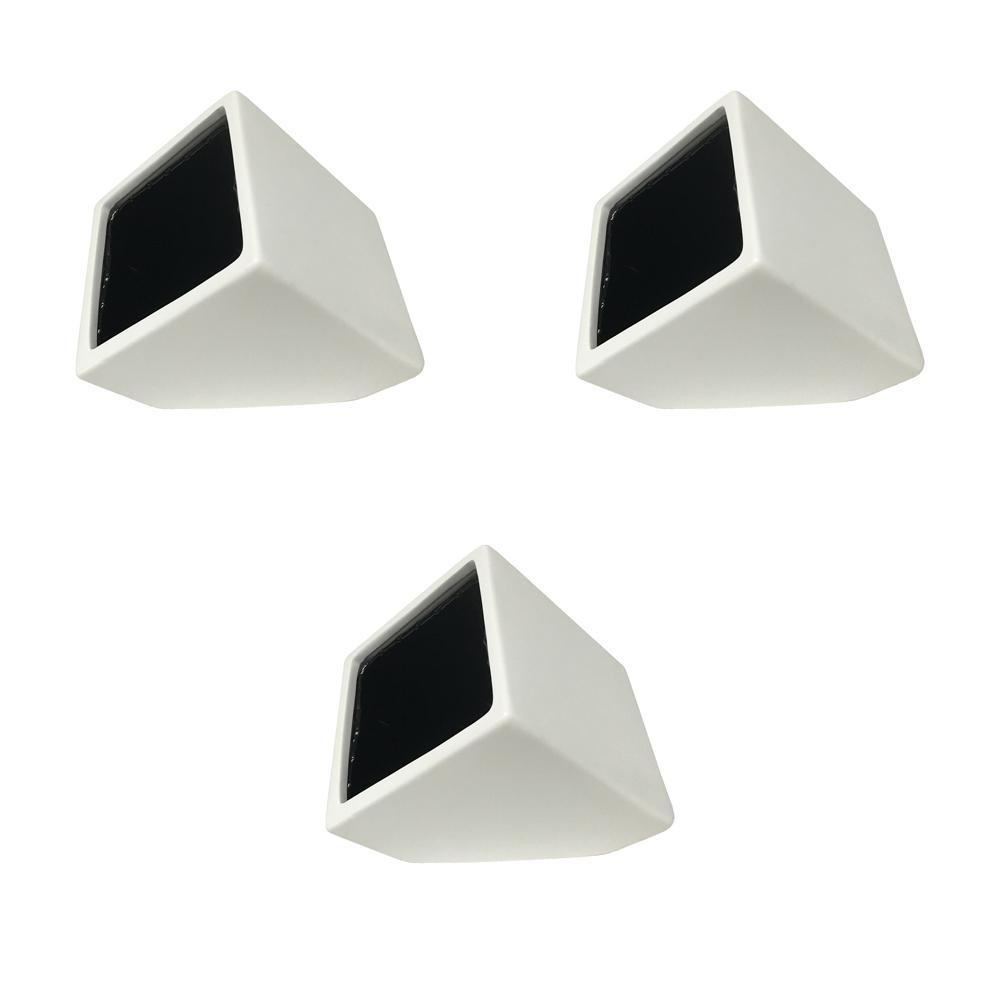 Cube 3-1/2 in. x 4 in. Matte White Ceramic Wall Planter (3-Piece)