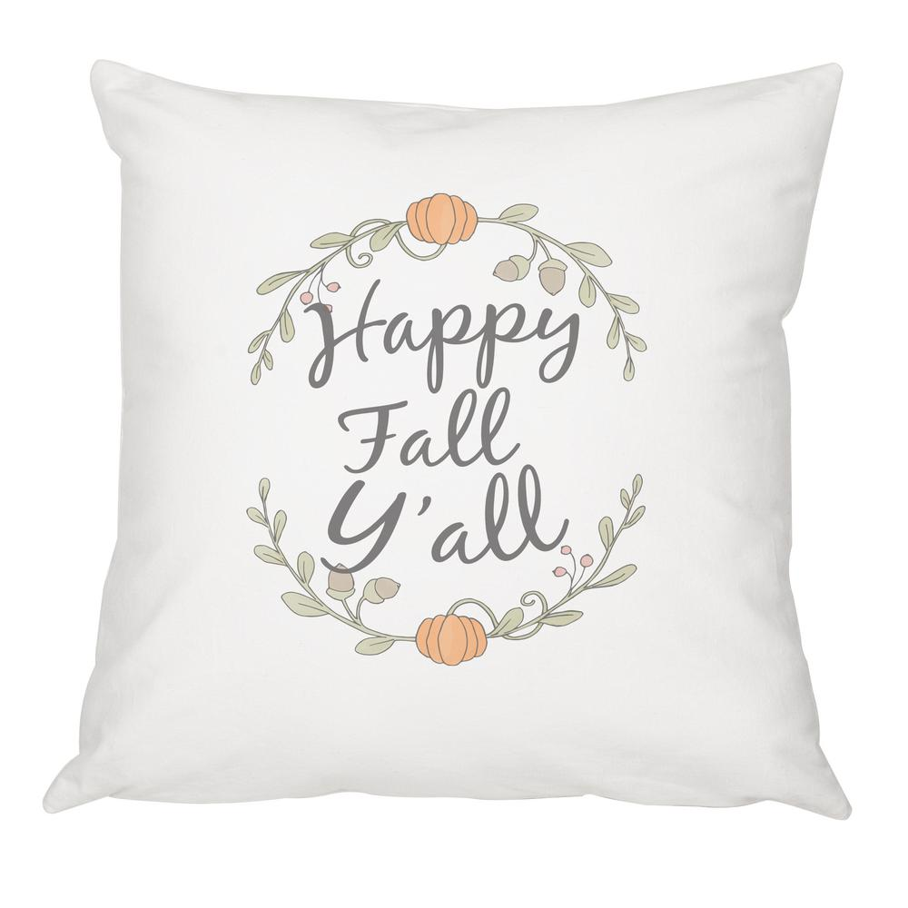 16 in. x 16 in. Happy Fall Y'all Throw Pillow