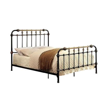 Black Metal Full Bed with Gold Accent