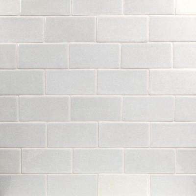 Nabi Glacier White 3 in. x 6 in. Polished Ceramic Subway Tile (1 sq. ft.)