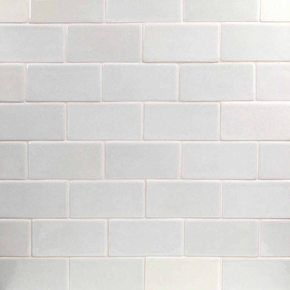 Ivy Hill Tile Oracle Glacier White 3 in  x 6 in  Polished Ceramic Subway  Tile (1 sq  ft )