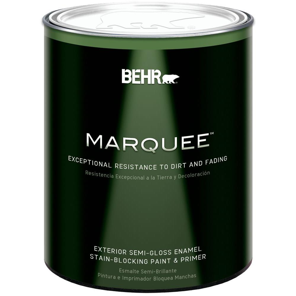 BEHR MARQUEE 1 qt. Ultra Pure White Semi-Gloss Exterior Paint and Primer in One