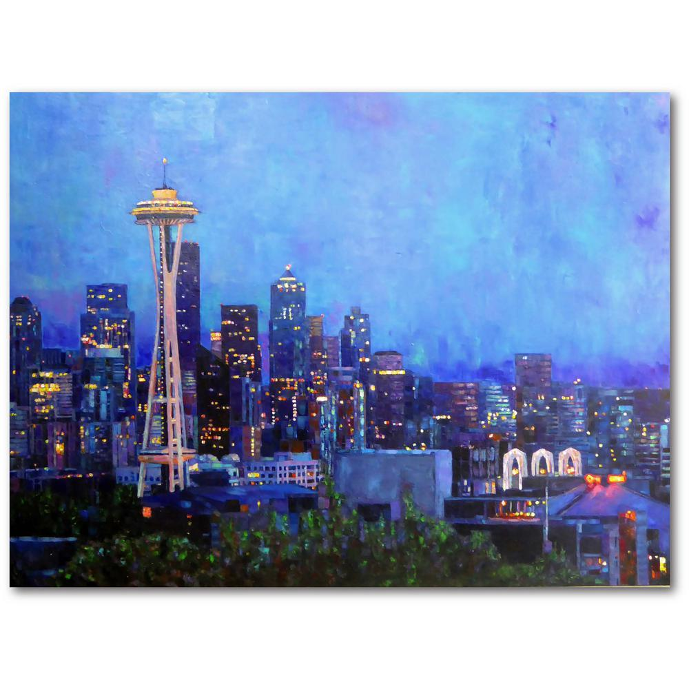Courtside Market Seattle at Night 16 in. x 20 in. Gallery-Wrapped Canvas Wall Art, Multi Color was $70.0 now $38.93 (44.0% off)