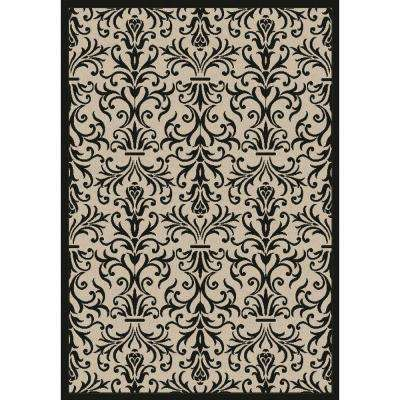 Piazza Sand/Black 7 ft. x 10 ft. Indoor/Outdoor Area Rug
