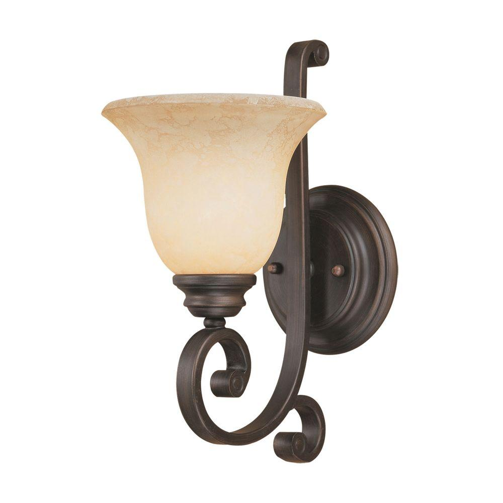 Millennium Lighting 1 Light Rubbed Bronze Sconce With Turinian Scavo Glass