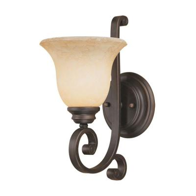 1-Light Rubbed Bronze Sconce with Turinian Scavo Glass